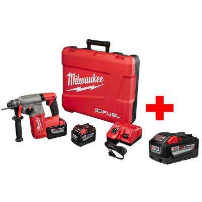 M18 FUEL 18-Volt Lithium-Ion Brushless 1 in. SDS-Plus Rotary Hammer High Demand 9.0Ah Kit with Free 9.0AH Battery