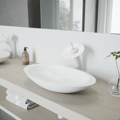 Waterfall Single Hole Single-Handle Vessel Bathroom Faucet with Matte Stone Disk in Matte White