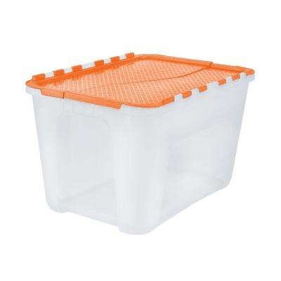 Clear Storage Tote With Orange Flip Top (5 Pack)