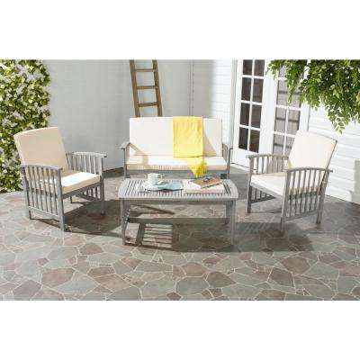 Rocklin 4-Piece Patio Seating Set with Beige Cushions