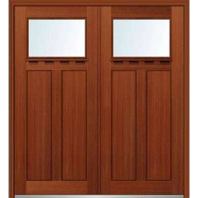 64 in. x 80 in. Shaker Left-Hand Inswing 1-Lite Clear Low-E 2-Panel Stained Fiberglass Fir Prehung Front Door with Shelf