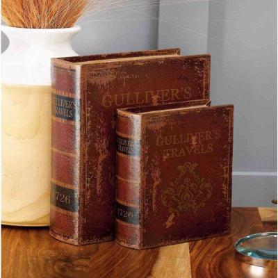 "Vintage Rectangular Wood and Faux Leather ""Gulliver's Travels"" Book Boxes (Set of 3)"