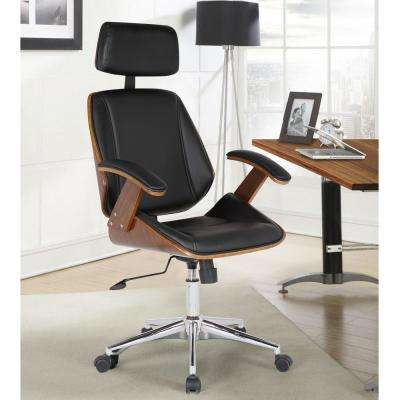 Century 48 in. Black Faux Leather and Chrome Finish Adjustable Office Chair