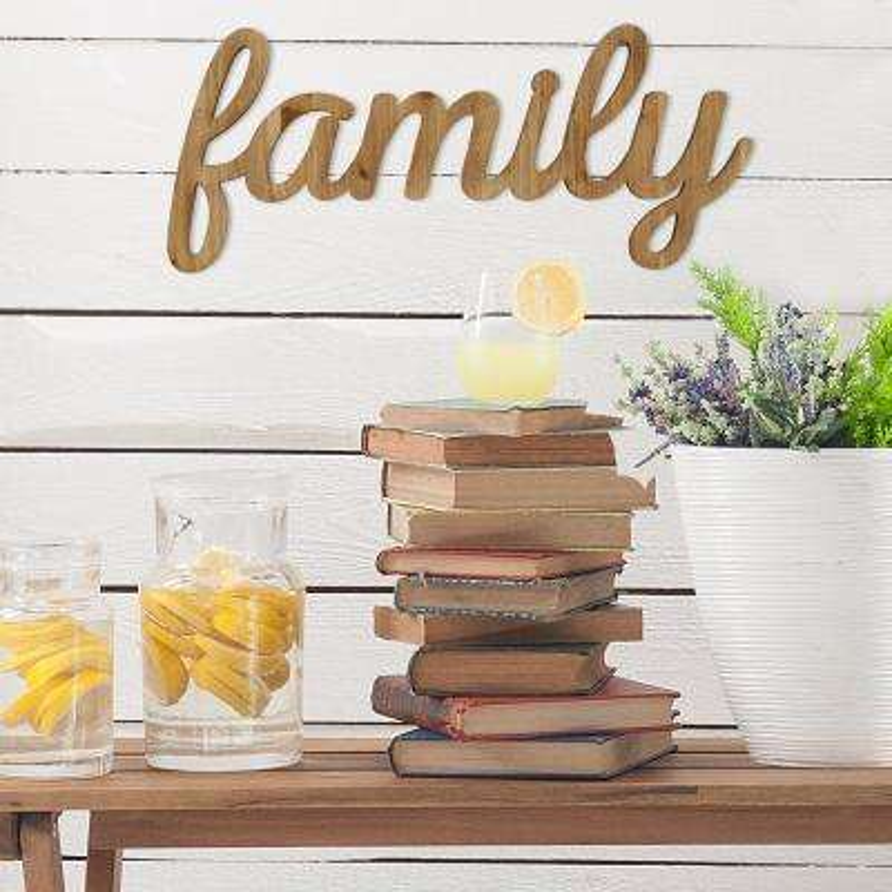 Family Natural Wood Script Wall Art
