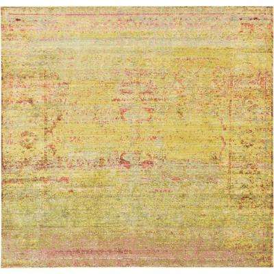 aria yellow 8 ft x 8 ft square area rug
