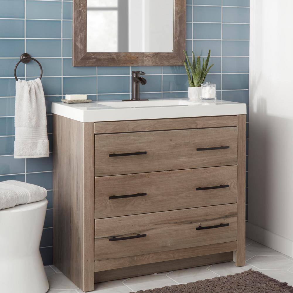 Kiso Single Hole Single-Handle Low-Arc Bathroom Faucet in Bronze