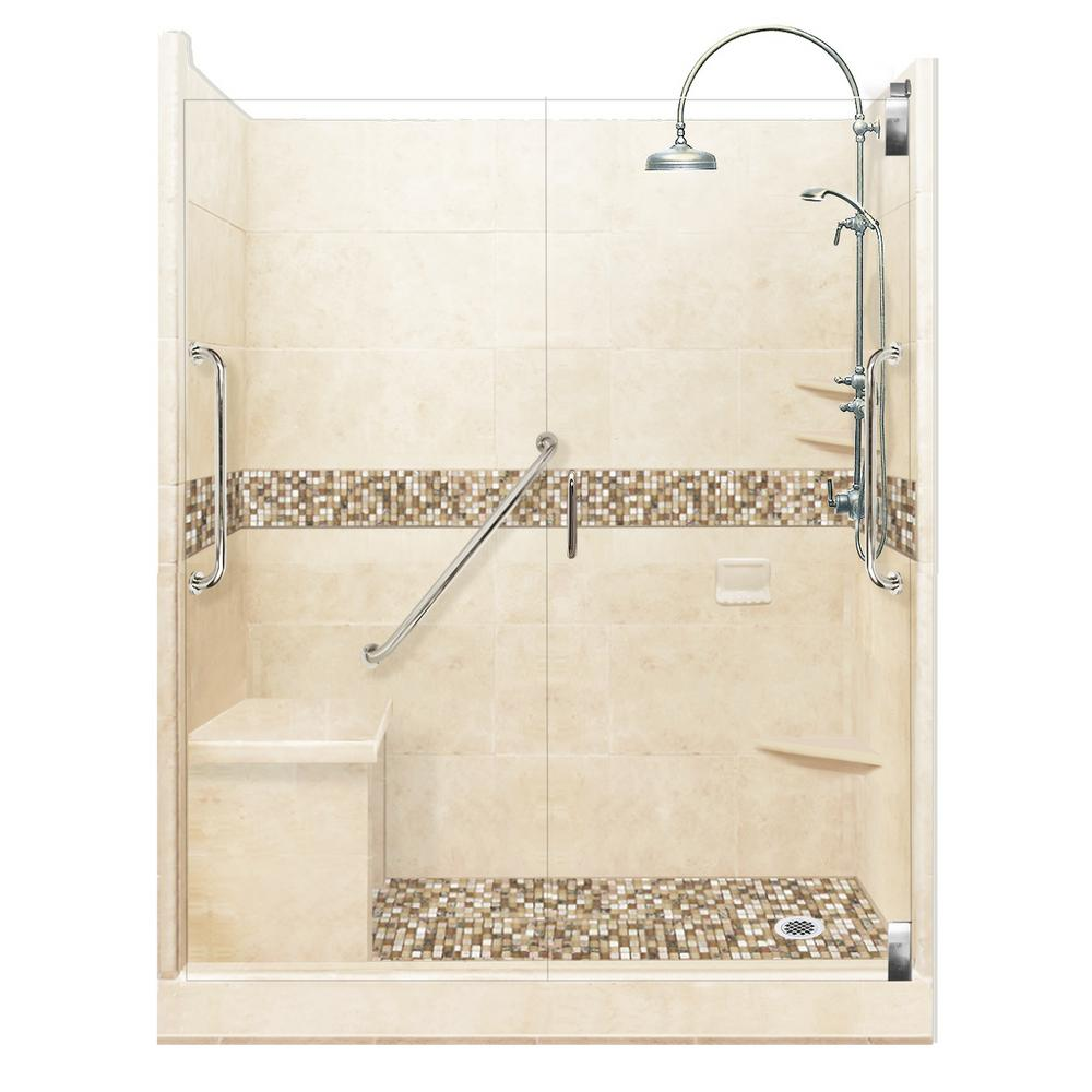 American Bath Factory Roma Freedom Luxe Hinged 42 in. x 60 in. x 80 in. Right Drain Alcove Shower Kit in Desert Sand and Chrome Hardware