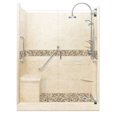 Roma Freedom Luxe Hinged 42 in. x 60 in. x 80 in. Right Drain Alcove Shower Kit in Desert Sand and Chrome Hardware