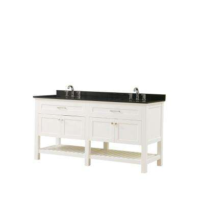 Preswick Spa 70 in. W x 25 in. D Vanity in White with Granite Vanity Top in Black with White Basin