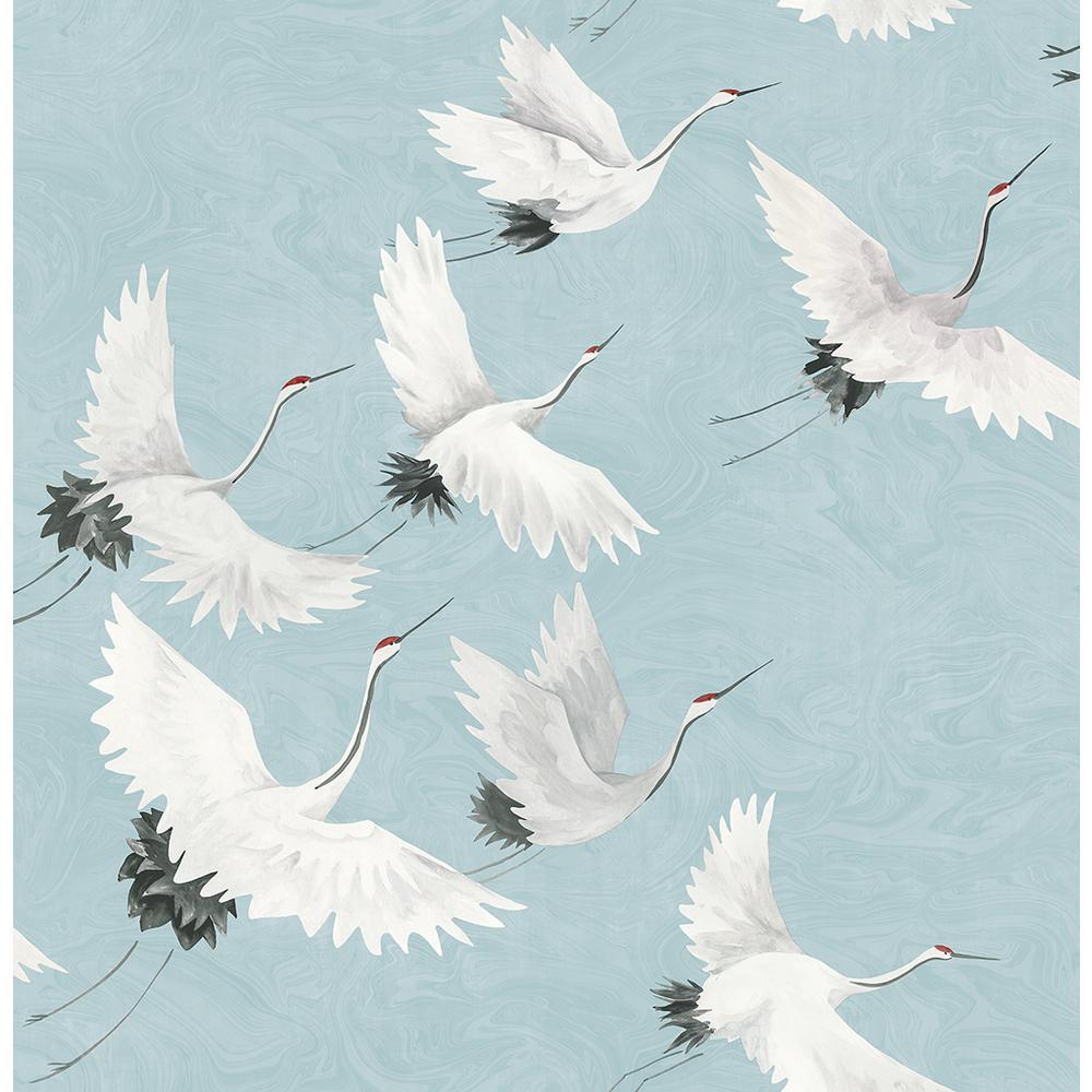 Windsong Blue Crane Blue Wallpaper Sample