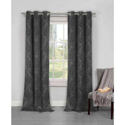 Blackout Phelan 84 in. L Blackout Grommet Panel in Grey (2-Pack)