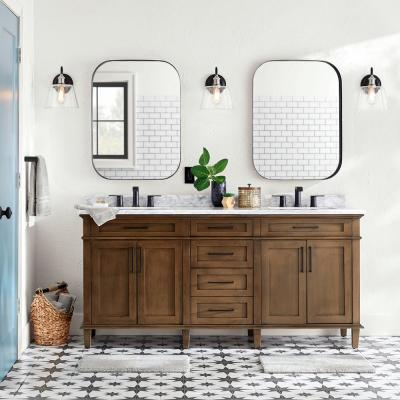 Sonoma 72 in. W x 22 in. D Bath Vanity in Almond Latte with Carrara Marble Vanity Top in White with White Basins