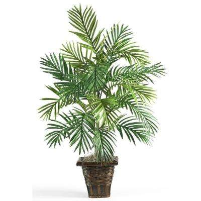 38 in. Areca Palm Silk Plant with Wicker Basket