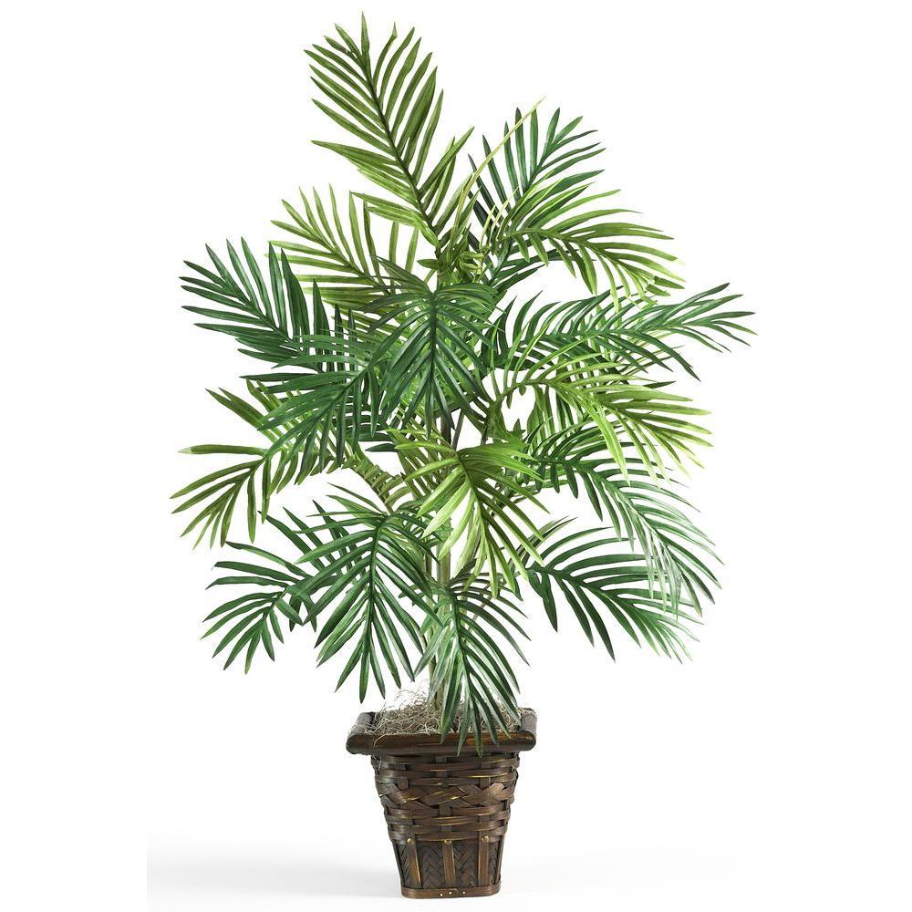 38 in. Areca Palm Silk Plant with Wicker Basket