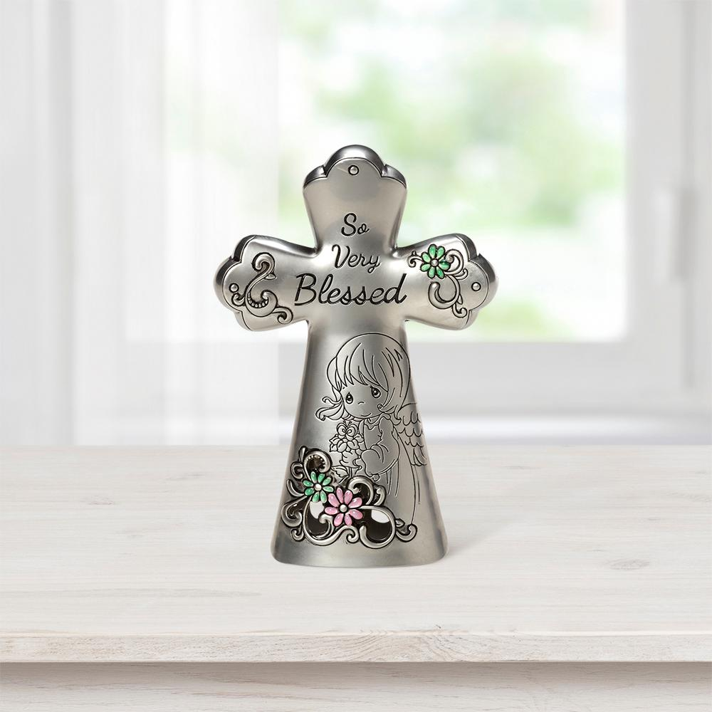 Precious Moments Tabletop Cross Zinc Alloy So Very Blessed Mini Figurine, Multi Eye-catching silvery cross with subtle splashes of green shares an uplifting sentiment and is graced with a blessed angel. An inspirational accent for any home or office, it adds a touch of faith wherever a reminder is needed to count your blessings. Give this Precious Moments cross as a thoughtful religious gift for religious occasions, or as a housewarming, 'thinking of you' or 'just because' gift. Crafted of hollow cast zinc alloy. Approximately 3. 5 in. H. Color: Multi.