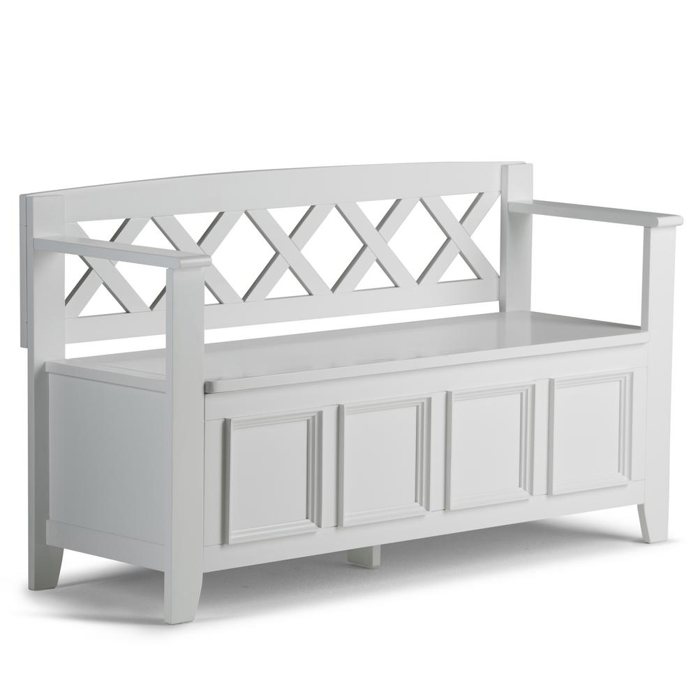 Simpli Home Amherst White Storage Bench