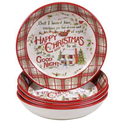 The Night Before Christmas 9.25 in. Soup and Pasta bowl (Set of 4)