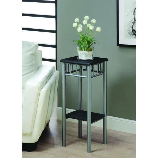 Monarch Specialties Black and Silver Indoor Plant Stand I 3094