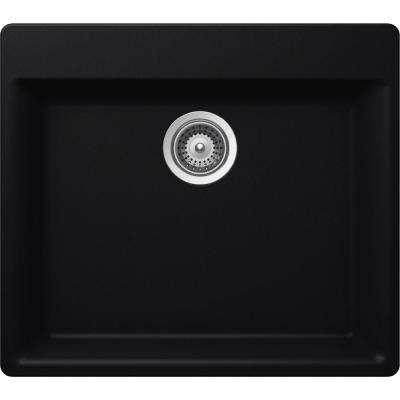 Elkay by Schock Drop-In/Undermount Quartz Composite 23 in. Single Bowl Kitchen Sink in Black
