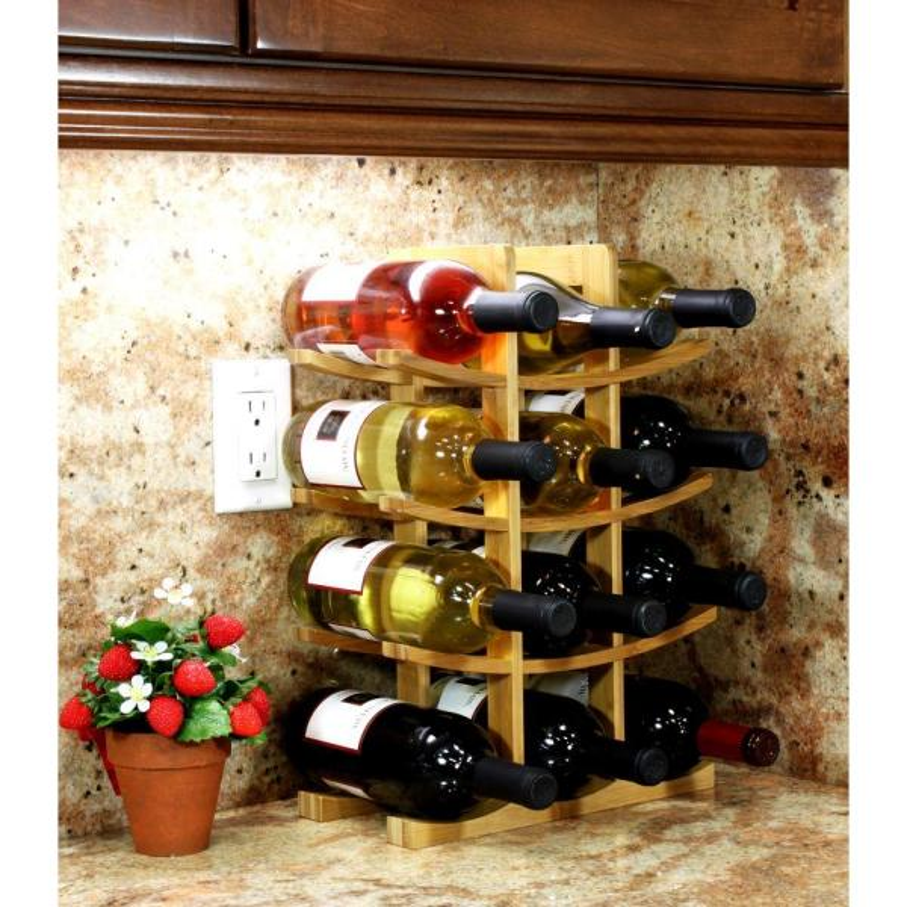 Oceanstar 12 Bottle Bamboo Countertop Wine Rack Wr1149 The Home Depot