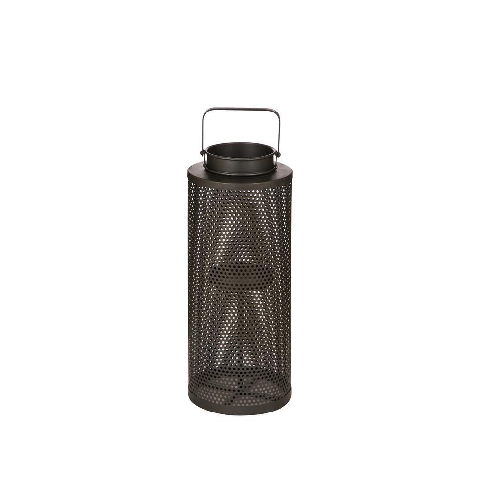 22.5 in. H Brown Industrial Cutout Metal Lantern