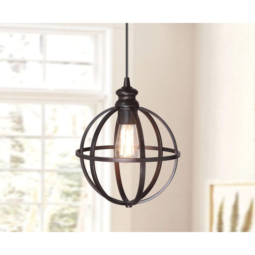 Worth Home Products Instant Pendant 1 Light Recessed Light Conversion Kit Brushed Bronze Globe Cage Shade