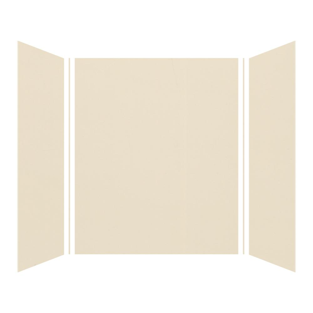 Transolid Expressions 42 in. x 60 in. x 72 in. 3-Piece Easy Up Adhesive Alcove Shower Wall Surround in Bisque