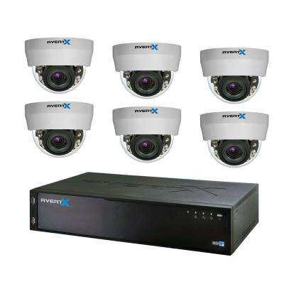 8-Channel HD+ IP Surveillance System with 3TB Storage and (6) 3MP Autofocus Dome Cameras with Night Vision