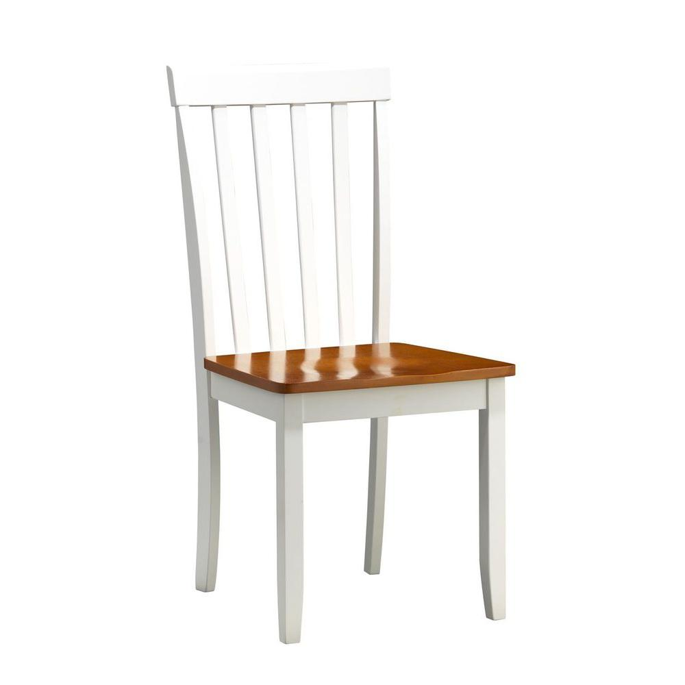 Boraam Bloomington White and Honey Oak Wood Dining Chair (Set of 2)