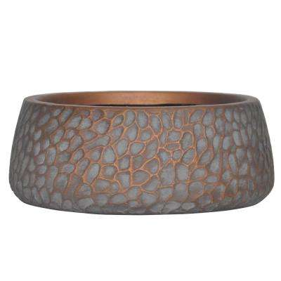 5 in. H Small Patina Grey Composite Inverted Taper Hammered Planter