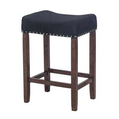 Hylie Nailhead 24 in. Antique Coffee and Black Cushioned Bar Stool