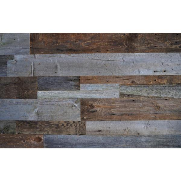Reclaimed Wood Brown & Gray 3/8 in. Thick x Varying Width x Varying Length Solid Hardwood Wall Planks (20 sq. ft./case)