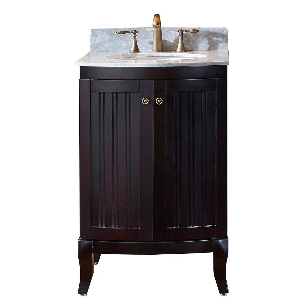 Virtu USA Khaleesi 25 in. W Bath Vanity in Espresso with Marble ...