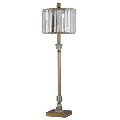 Webster 30.5 in. Crystal and Brass Floor Lamp with Crystal Shade