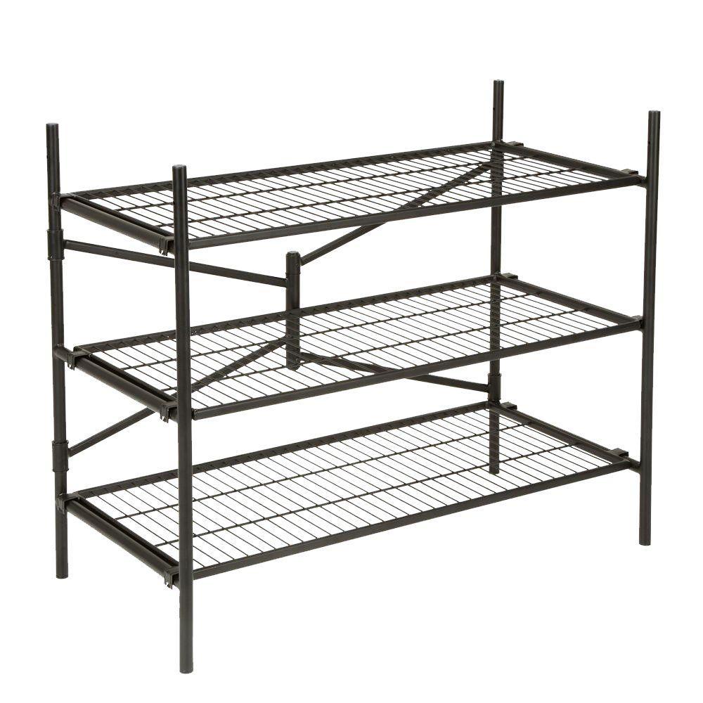 Cosco Cosco 3-Shelf 43 in. W x 36 in. H x 21 in. D Steel Folding Shelving Unit, Black
