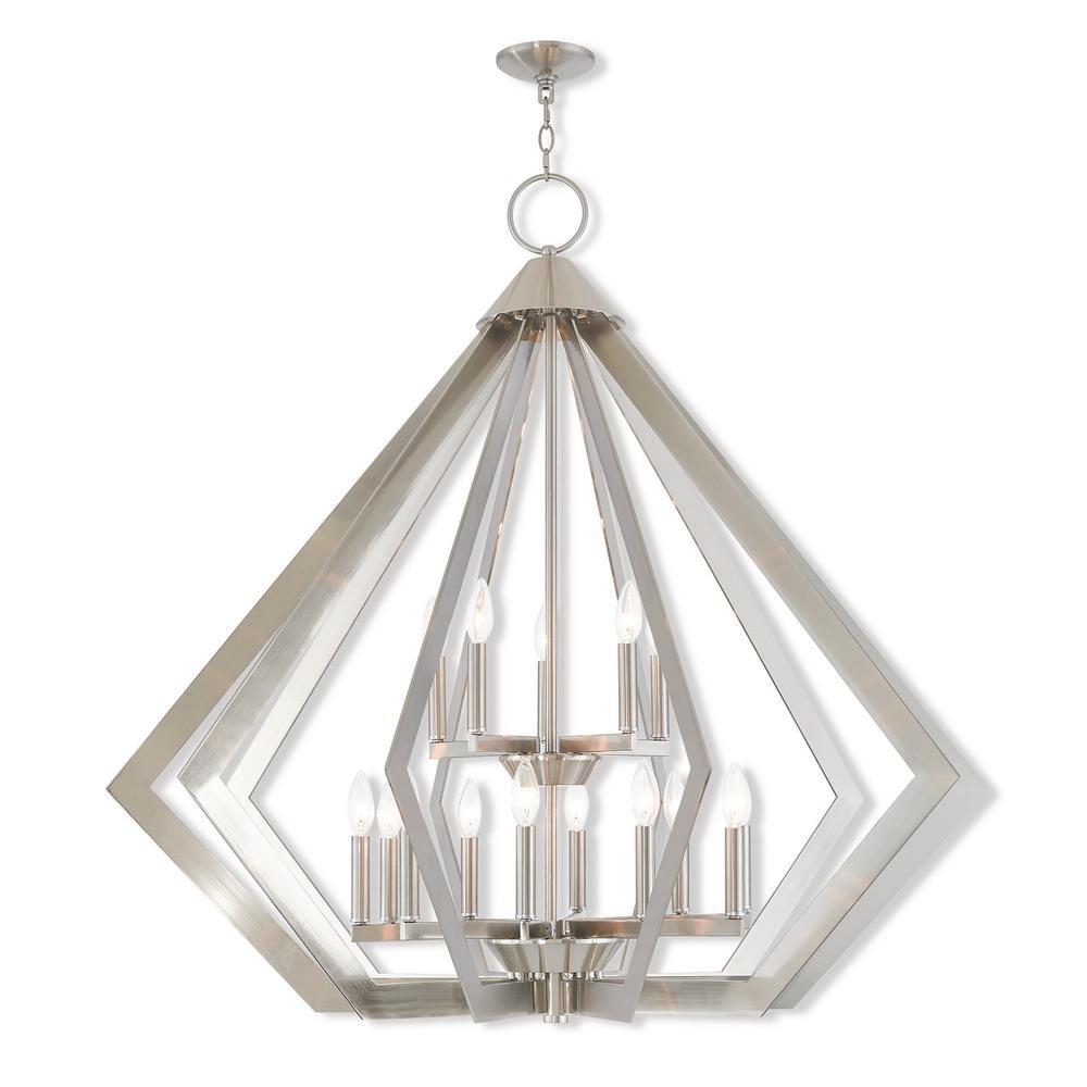 Prism 15-Light Brushed Nickel Foyer Chandelier