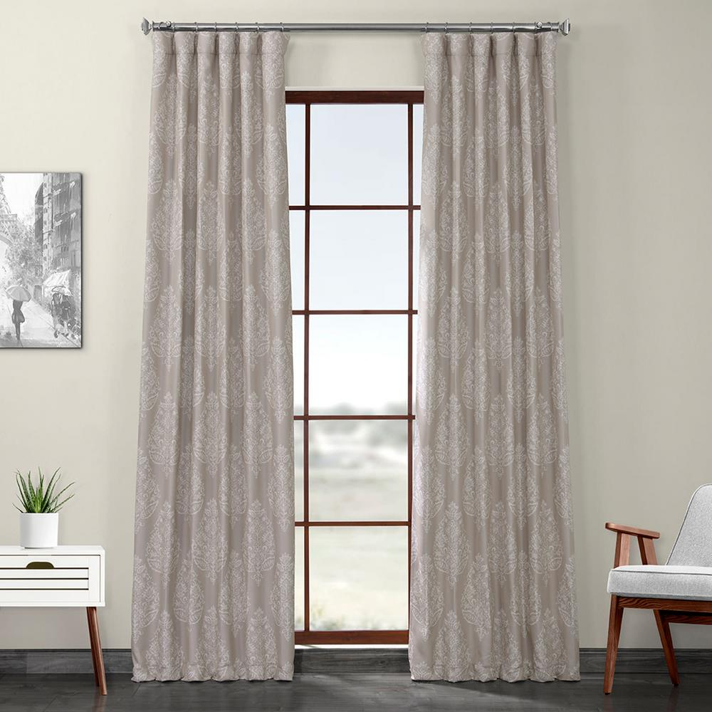 Exclusive Fabrics & Furnishings Istanbul Tan Printed Linen Textured Blackout Curtain - 50 in. W x 120 in. L (1-Panel)