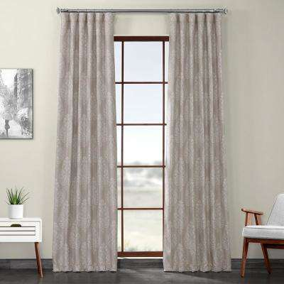 Istanbul Tan Printed Linen Textured Blackout Curtain - 50 in. W x 120 in. L (1-Panel)