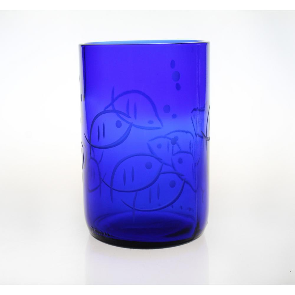 Blue Fish 14 oz. Repurposed Blue Glass Tumbler (Set of 4)