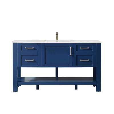 Grayson 60 in. Bath Vanity in Blue with Manufactured Stone Vanity Top in White with White Basin