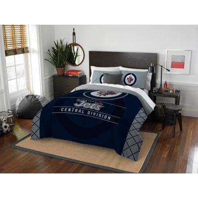 Winnipeg Jets Draft 3-Piece Multi-Color Polyester Full and Queen Comforter Set