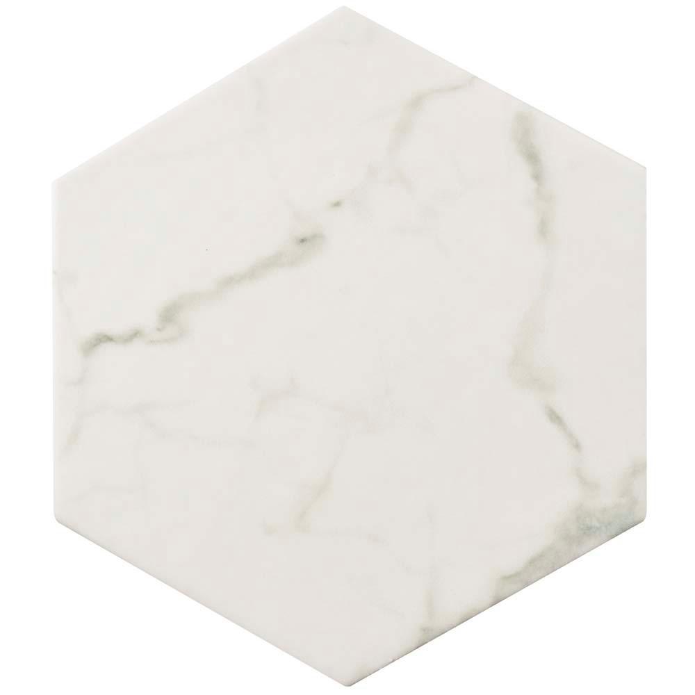 Classico Carrara Hexagon 7 in. x 8 in. Porcelain Floor and