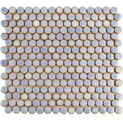 Hudson Penny Round Frost Blue 12 in. x 12-5/8 in. x 5 mm Porcelain Mosaic Tile