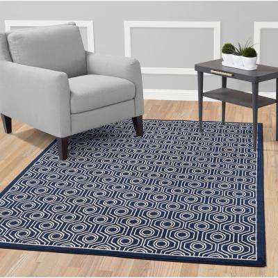 Alpina Collection Navy and Ivory 7 ft. 10 in. X 9 ft. 10 in. Moroccan Trellis Area Rug