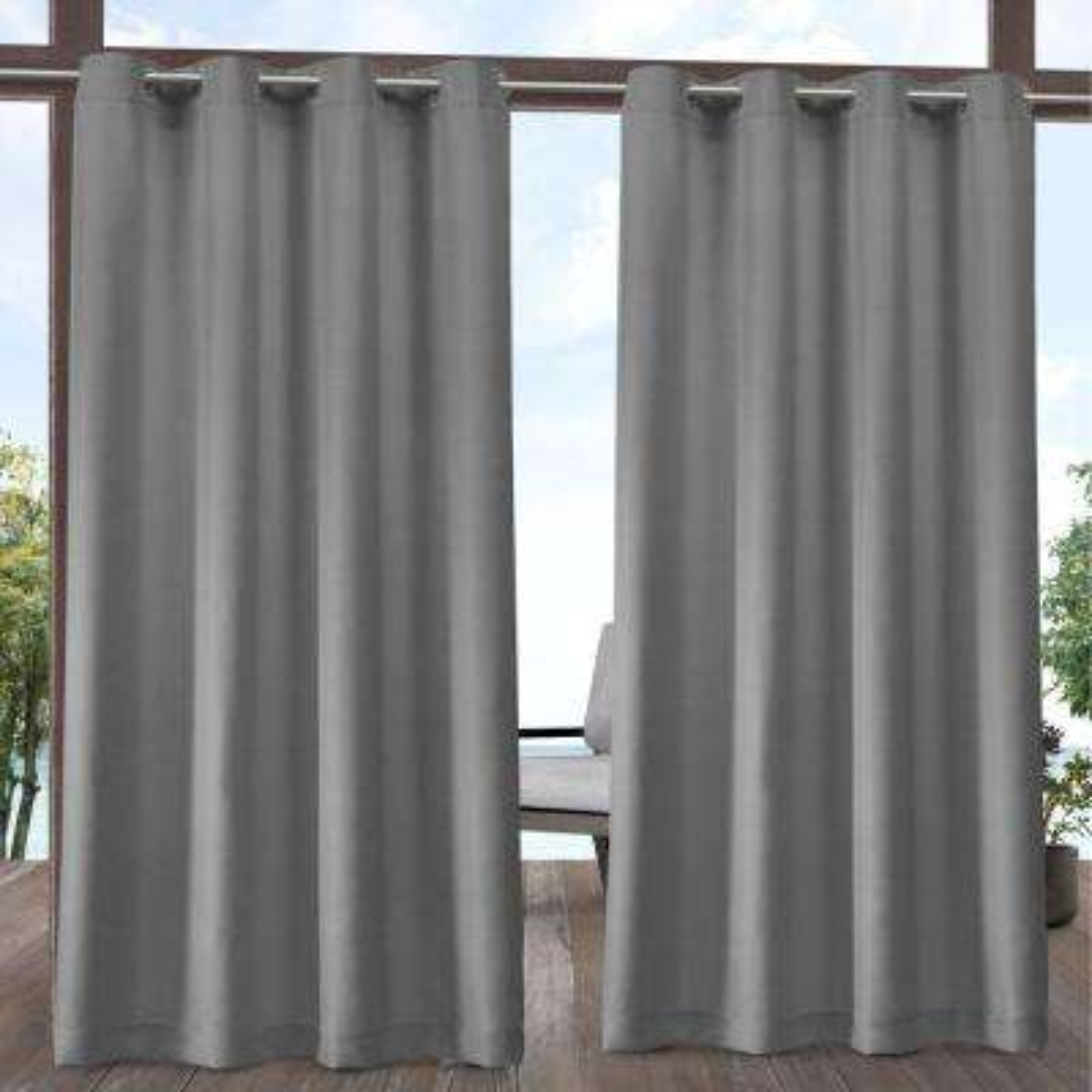 Indoor/Outdoor Solid Cabana Medium Grey Light Filtering Grommet Top Curtain Panel 54 in. W x 84 in. L (2 Panels)
