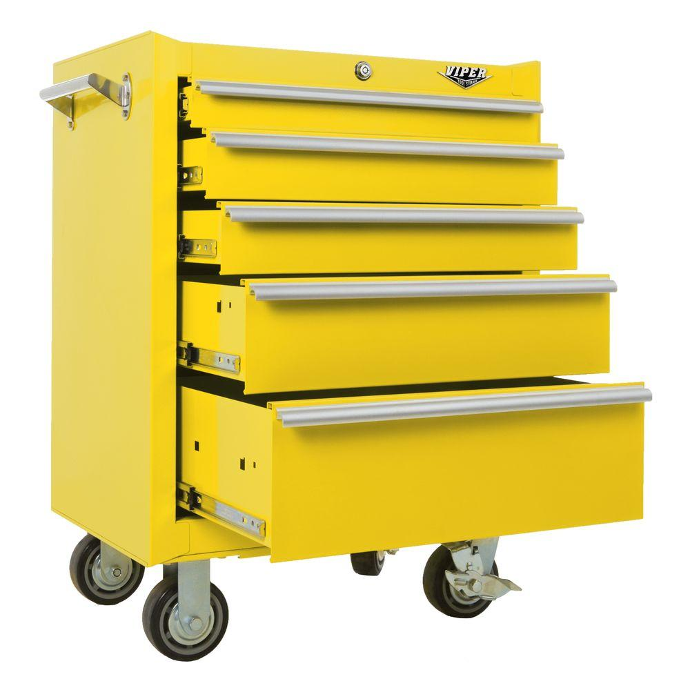 Viper Tool Storage 26 in. 5-Drawer Cabinet in Yellow