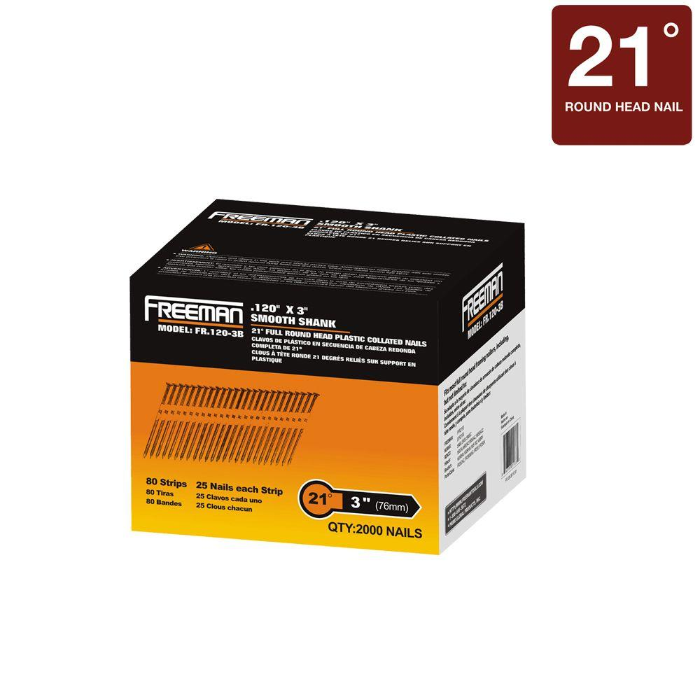 Freeman 3 in. x 0.12 in. Plastic Collated Smooth Shank Brite Framing ...