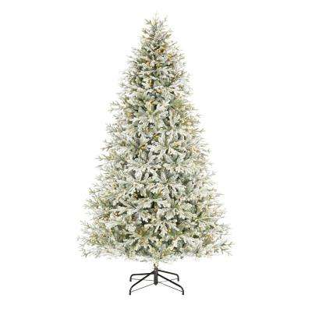 9 ft. Kenwood Frasier Fir Flocked LED Pre-Lit Artificial Christmas Tree with 1200 Warm White Lights