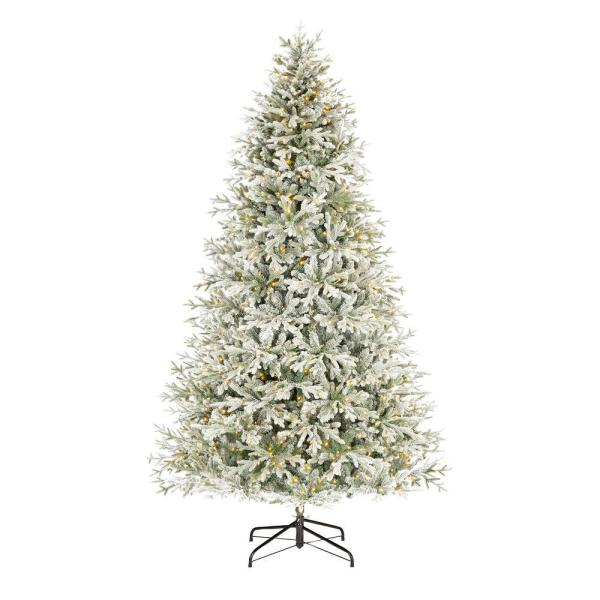 Home Decorators Collection 9 ft. Kenwood Frasier Fir Flocked LED Pre-Lit Artificial Christmas Tree with 1200 Warm White Lights   The Home Depot