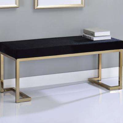Boice Gold with Black Fabric Bench